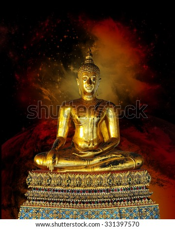 A highly detailed beautiful golden Buddha statue against a dark cosmic background
