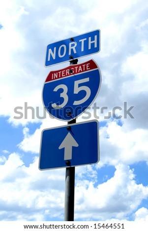 A highway 35 road sign in Texas. - stock photo