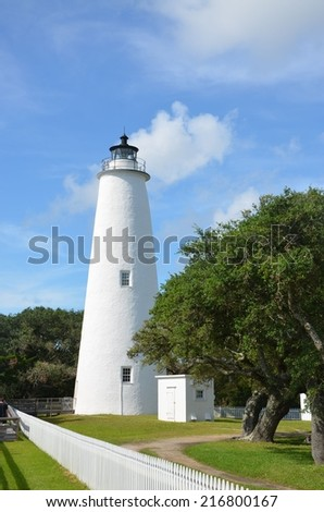 A historic white lighthouse at Ocracoke North Carolina