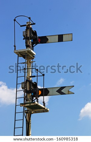A Home and Distant railway signal seen against the sky. - stock photo