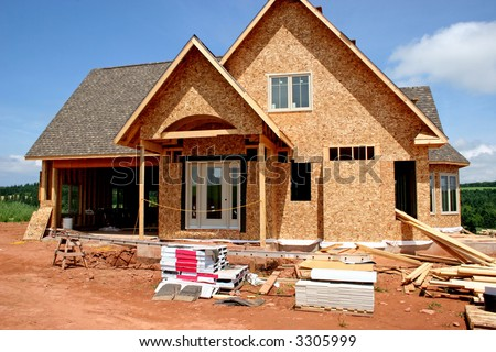 A home in a part of the construction phase.