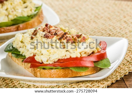 A homemade egg salad sandwhich with bacon bits tomato and lettuce - stock photo