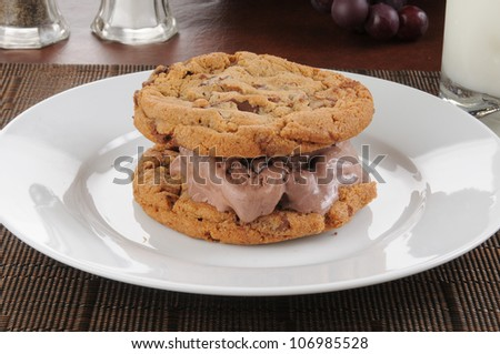 A homemade ice cream sandwich between two chocolate chip cookies - stock photo