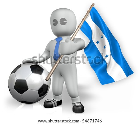 A Honduras football fan with a ball and a flag - stock photo