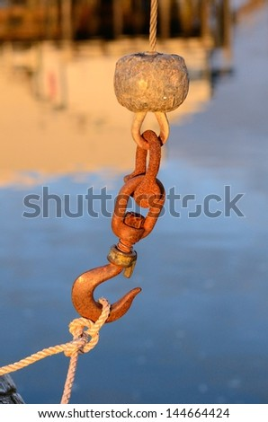 A hook on the end of a small crane used to lift fish from commercial fishing boats onto the docks for processing - stock photo
