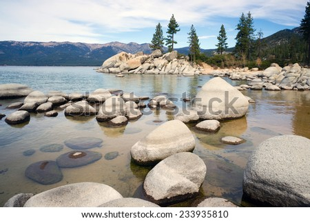 A horizontal composition beautiful day Sand Harbor Lake Tahoe - stock photo
