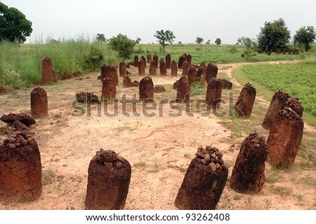 A horizontal image of the Wassu stone circles in The Gambia - stock photo