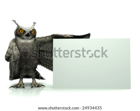 A horned owl holding a blank sign. - stock photo