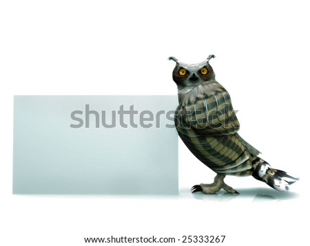 A horned owl with a blank sign. - stock photo