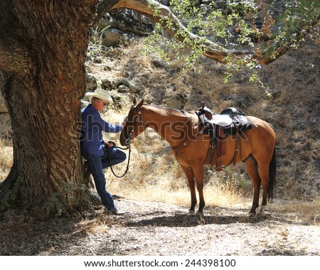 A horse and cowboy  taking a break. - stock photo