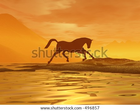 A horse galloping across a golden landscape - stock photo