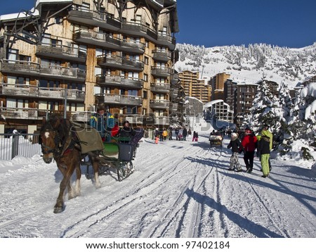 A horse sledge in the ski resort of Avoriaz in France, - stock photo