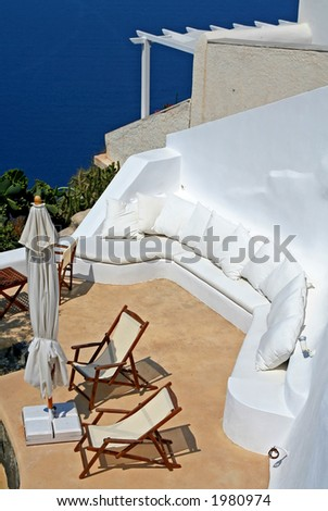 A hotel balcony at Santorini Island, Greece