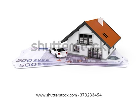 A house and a car above 500 Euro banknotes - stock photo