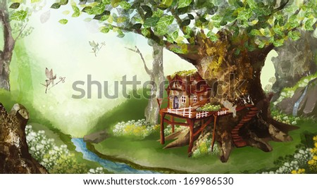 A house attached to a tree with fairies flying around it. - stock photo