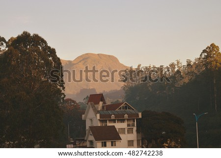 A house between trees with hills in background