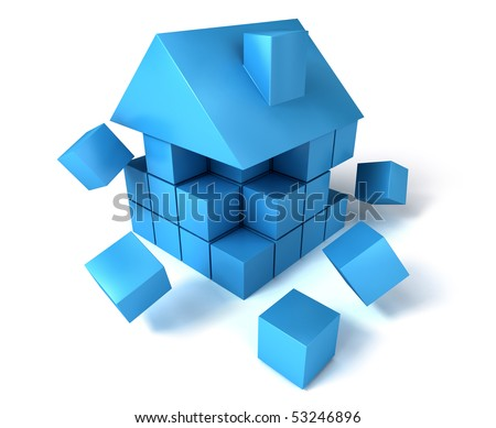A house build of blocks and cubes, falling apart. - stock photo