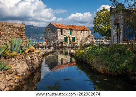 A house in balkan style .Montenegro. - stock photo