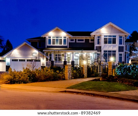 A house in suburbs at dusk in Vancouver, Canada - stock photo