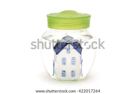 A house is under water - stock photo