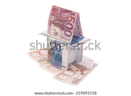 A house made from euro bills  - stock photo