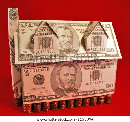 A house made of fifty dollar bills with a penny foundation - stock photo