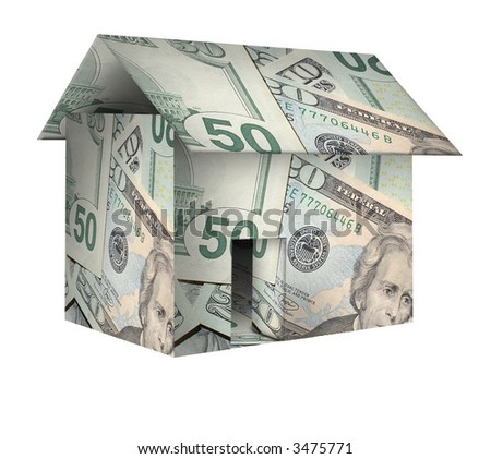 A house made of money,dollars on white background