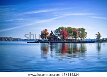 A House on an island during autumn season - stock photo