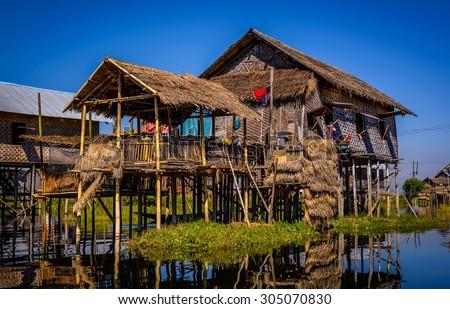 A house on bamboo sticks in Inle Lake, Myanmar (Burma) - stock photo