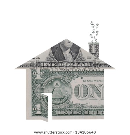 A house shape made from dollar bills with dollar signs rising from chimney symbolizing the housing crisis. - stock photo