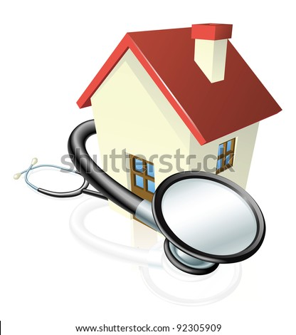 A house with a stethoscope wrapped round it. Concept for property maintenance or other real estate related. - stock photo