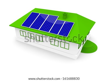 a house with solar panel - stock photo