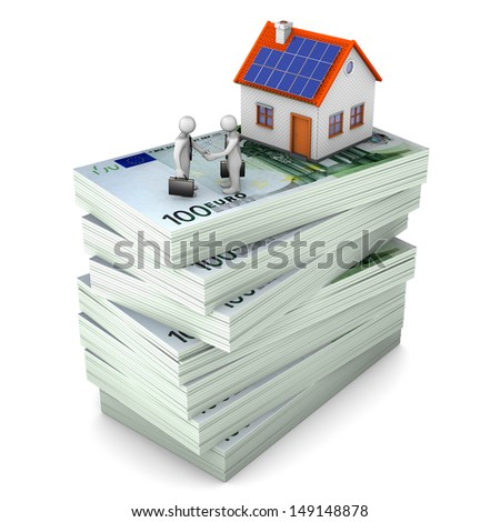 A house with white toons on the hundred euro notes. White background. - stock photo