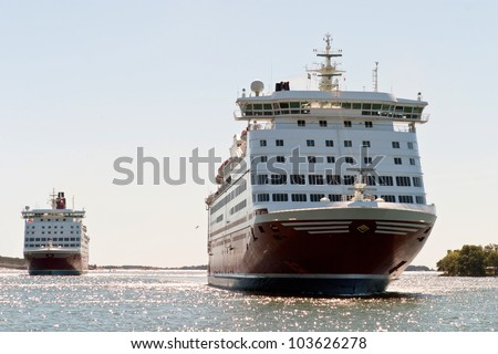 A huge ferries on the way from Mariehamn (Finland) to Stockholm (Finland) - stock photo