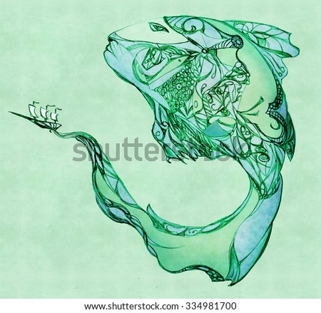 A huge fish with a sailboat on the tail. Pencil drawing - stock photo