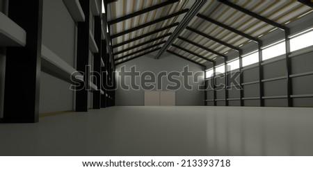 A huge hangar inside, 3d render - stock photo