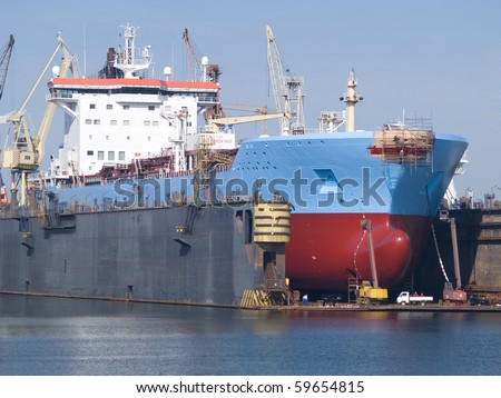 A huge in a dry dock - stock photo