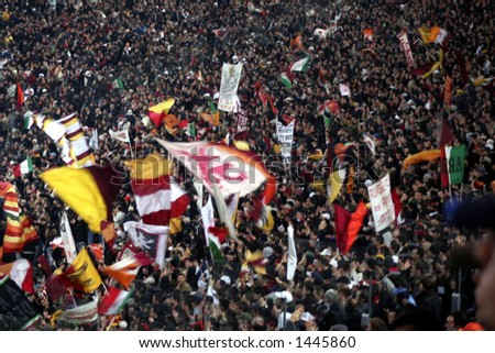 A huge of Roma ultras fans in a football match in Rome italy 2006