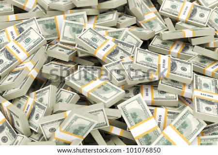 a huge pile of money - stock photo