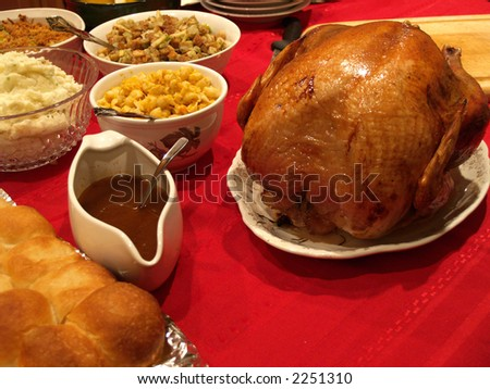 A huge spread of foods for a holiday dinner