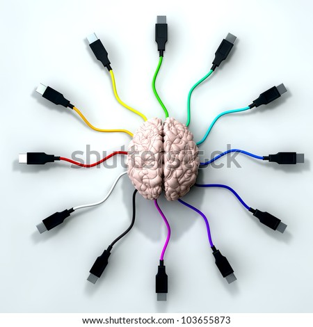 A human brain with multi-colored usb cable extending and reaching out from its center