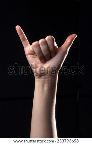 A human hand(finger) make the devil and means six in the china, liu, chinese hand language  isolated black at the studio.  - stock photo