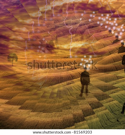 A Human Mind Abstract Composition - stock photo