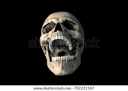 A human skull in rich colors on a black background. The concept of death, horror. A symbol of spooky Halloween. Illustration of 3D rendering.