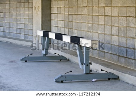 a hurdle in the track and field stadium - stock photo