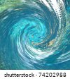 A hurricane-like abstract that suggests debris being pulled into the vortex. Partial blur indicates speed. Rendered from a photo of a natural spring. - stock