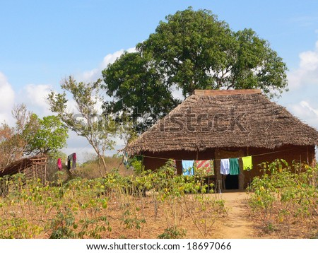 A hut in a village in Kenya near Mombasa - stock photo