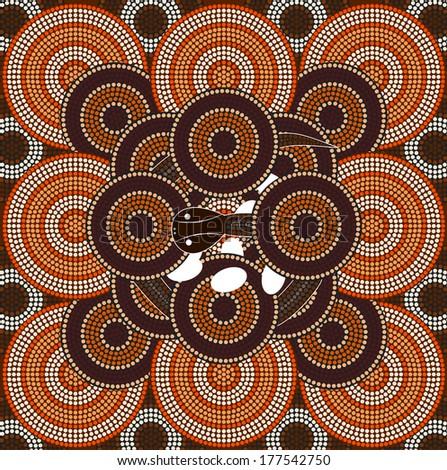 A illustration based on aboriginal style of dot painting depicting snake  - stock photo