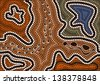 A illustration based on aboriginal style of dot painting depicting the way i have gone - stock photo