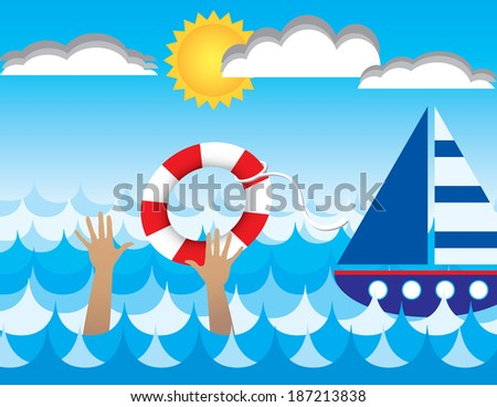 A illustration of a drowning person being rescued by a passing ship. - stock photo